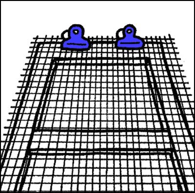 網を固定する